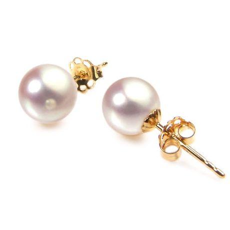 Orecchini perle Akoya bianche. Farfallina oro giallo - 7/7.5mm. AAA