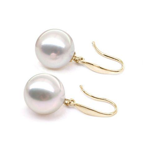 Orecchini perle Akoya bianche. Gancio oro giallo -  7.5/8mm. AAA