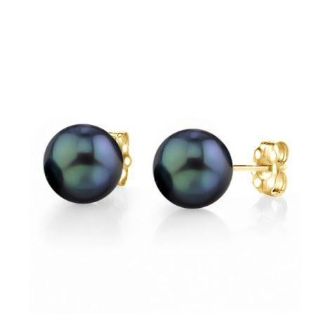 Orecchini Hisano perle Akoya nere. Farfallina oro giallo - 7/7.5mm. AAA