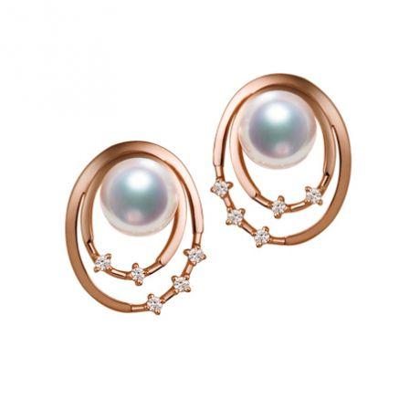 Orecchini perle Akoya bianche. Oro rosa, diamanti. Motivo
