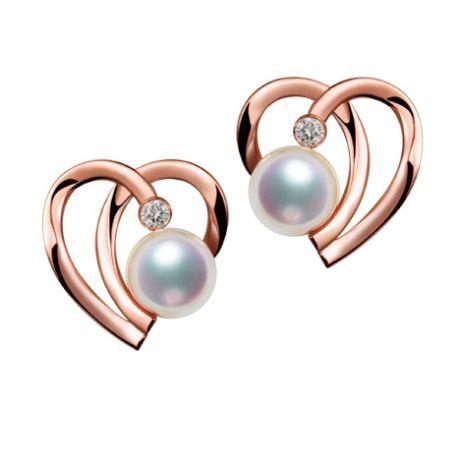 Orecchini Cuore Moderno. Oro rosa, perle Akoya e diamanti