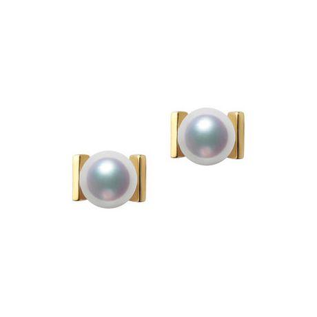 Orecchini Quadrati Oro Giallo e perle Akoya dal Giappone