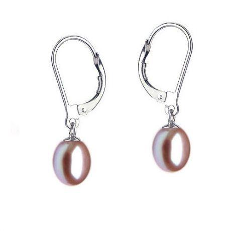 Orecchini perle acqua dolce lavanda. Monachella oro bianco - 8/9mm. AA+