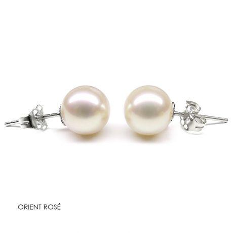 Orecchini perle acqua dolce bianche. Farfallina oro bianco - 8/9mm. GEMMA