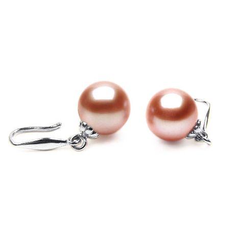 Orecchini perle acqua dolce rosa. Gancio oro bianco - 8/9mm. AAA