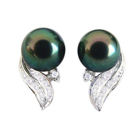 Orecchini - Pendenti oro bianco - perle di Tahiti nere, verdi - 8.5/9.5mm