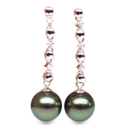 Orecchini catena - Pendenti oro bianco - Perle di Tahiti nere, verdi - 9/10mm