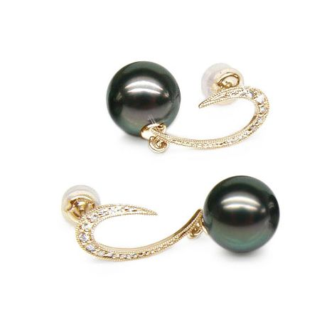 Orecchini diamanti - Pendenti oro giallo - Perle di Tahiti nere, pavone - 9/10mm