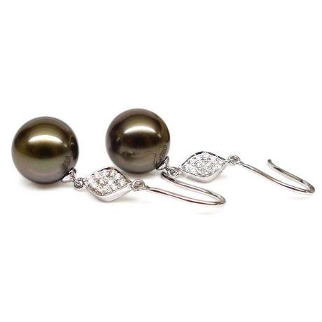 Orecchini diamanti - Gancio oro bianco - Perle di Tahiti nere, bronzo - 9/10mm