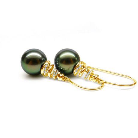 Pendenti spirale in oro giallo - Perle di tahiti nere - Chiusura gancio