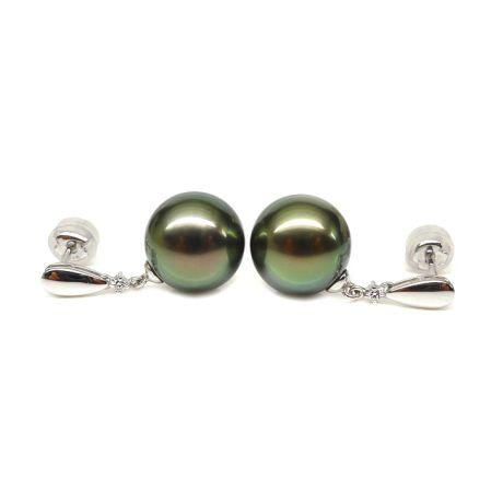 Orecchini - Pendenti oro bianco -  Perle di Tahiti nere, verdi