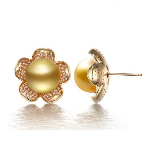 Orecchini fiori di frangipane - Perle d'Australia dorate