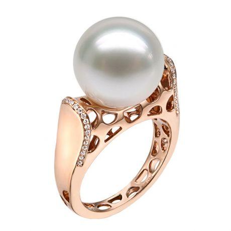 Anello con perla dei Mari del Sud - Stile corallo diamantato