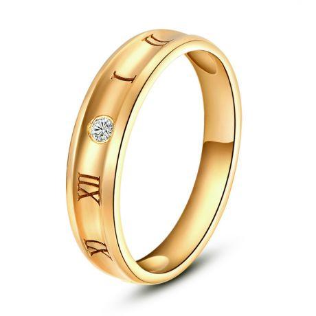 Anello Uomo con numeri Romani - Oro giallo e diamante