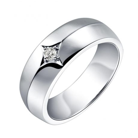 Anello per Uomo - Oro bianco 18t - Diamante centrale