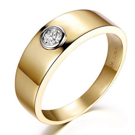 Anello Uomo - Oro giallo e bianco - Anello con diamante