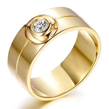 Anello da Uomo - Oro giallo 18 carati - Anello con diamante
