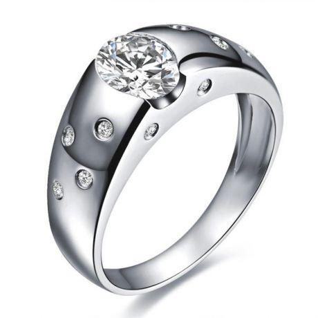 Anello Uomo - Oro bianco 18 carati - Diamantato