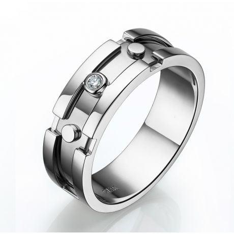 Anello Uomo - Oro bianco 7.50gr - Diamanti 0.025ct