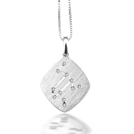Ciondolo astrologico - Costellazione del leone - Oro bianco, diamanti