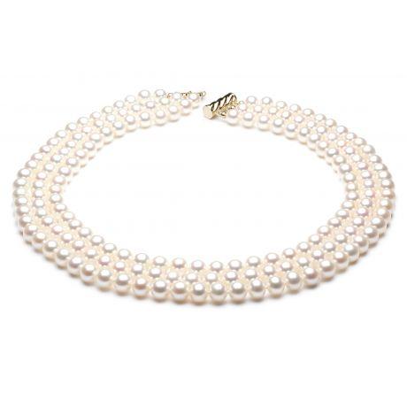 Collana tre fili perle acqua dolce bianche - 7/7.5mm, AAA