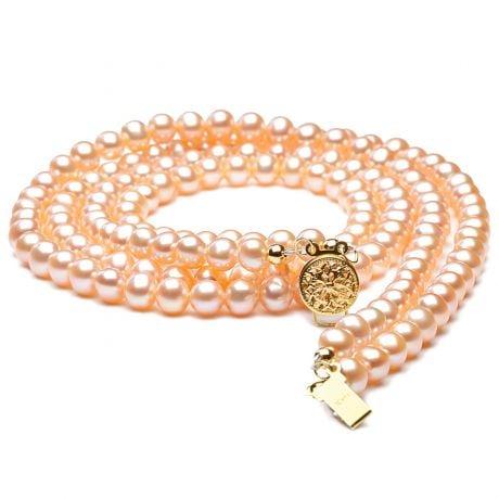 Collana due fili perle acqua dolce rosa - 5/5.5mm, AA+