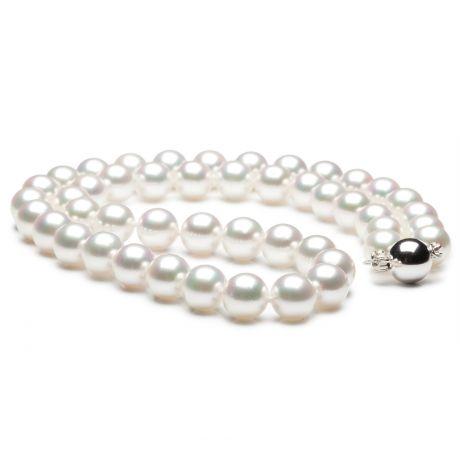 Collana di perle Akoya giapponesi bianche - 8/8.5mm, AA+