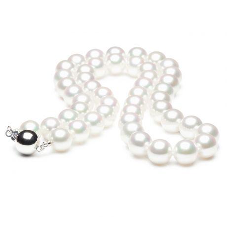 Collana di perle Akoya giapponesi bianche - 7.5/8mm, AAA