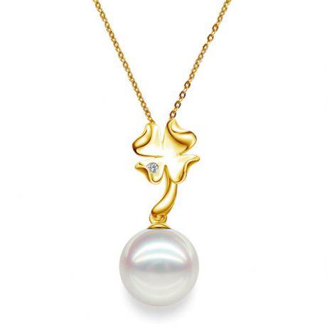 Ciondolo perle Akoya del Giappone - Perla AAA, oro giallo e diamanti