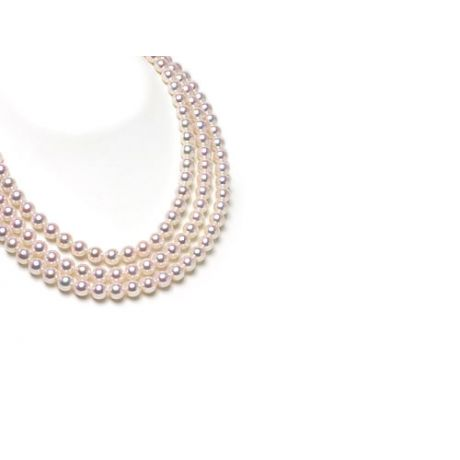 Collana tre fili di perle Akoya giapponesi bianche - 5.5/6mm, AAA-40, 42, 44cm
