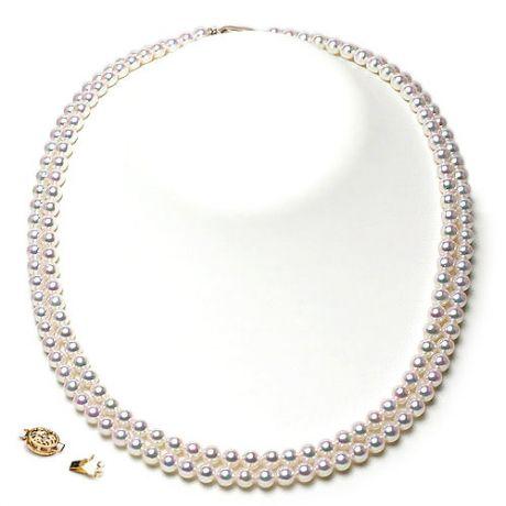 Collana due fili di perle Akoya giapponesi bianche - 4.5/5mm, AAA