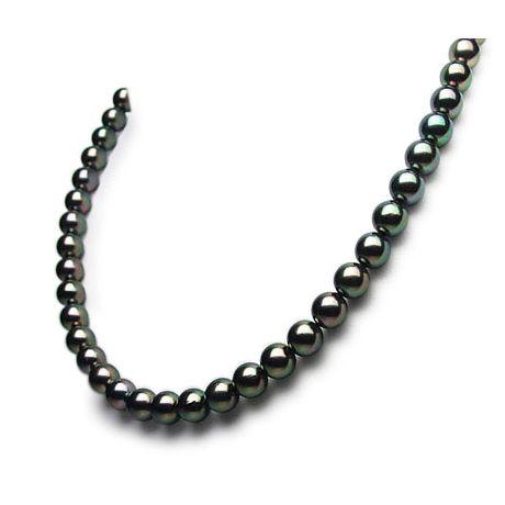 Collana di perle Akoya giapponesi nere, verdi, rosa - 7/7.5mm, AAA