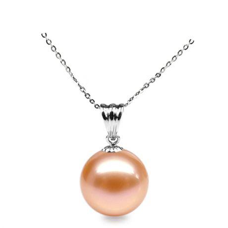 Ciondolo oro bianco - Perla d'acqua dolce rosa - 10/11mm