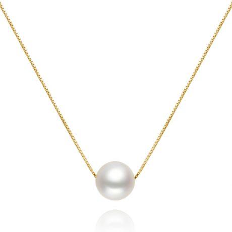 Collana ciondolo perla bianca 9/10mm - Catenina in oro giallo