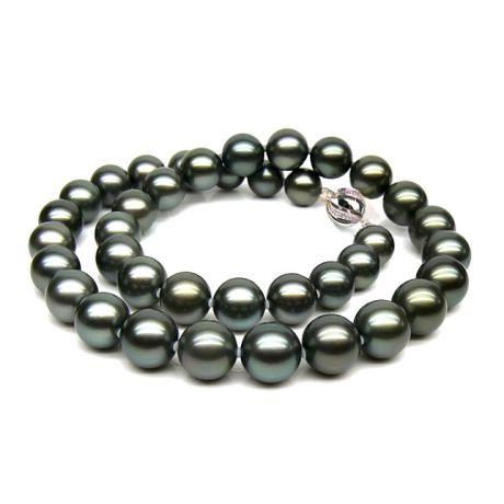 Collana perle di Tahiti nere, verde - 9/11mm - AAA