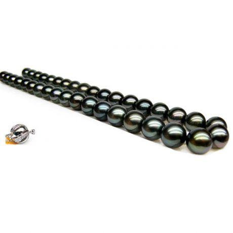 Collana perle di Tahiti nere, pavone, verde, blu  - 10/11mm - AAA