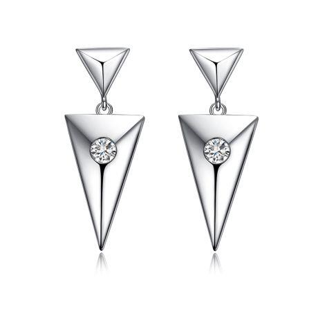 Orecchini pendenti triangolo Oro bianco. Diamanti 0.100ct