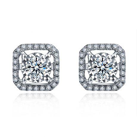Orecchini Quadrato di Diamanti. Oro bianco. Roksana