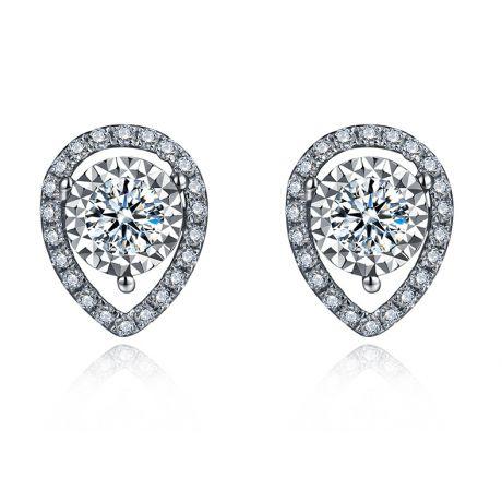 Orecchini Goccia rovesciata di Diamanti. Oro bianco 18 carati