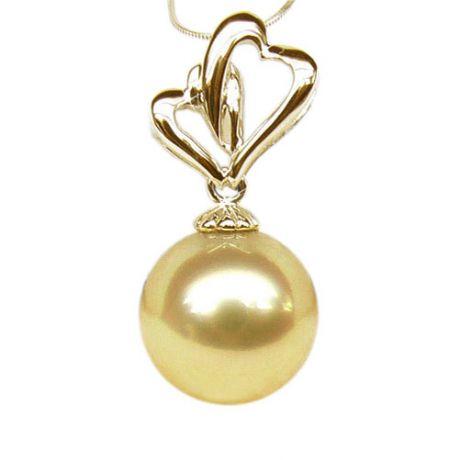 Ciondolo cuori oro giallo - Perla d'Australia dorata - 11/12mm
