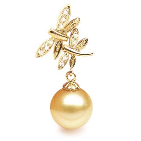 Ciondolo libellule oro giallo - Perla d'Australia dorata - 11/12mm
