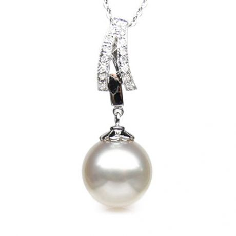 Ciondolo oro bianco - Perla Australiana bianca - 12/13mm