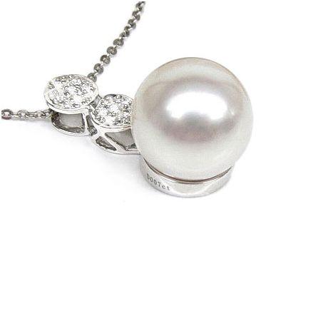 Ciondolo oro bianco - Perla d'Australia bianca, argento - 12/13mm