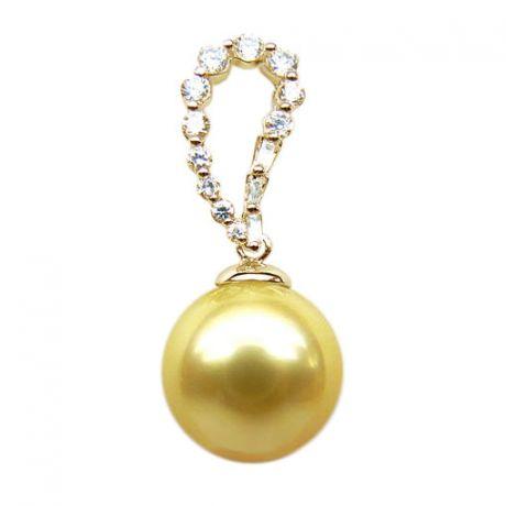 Ciondolo oro giallo diamantato - Perla d'Australia dorata - 12/13mm