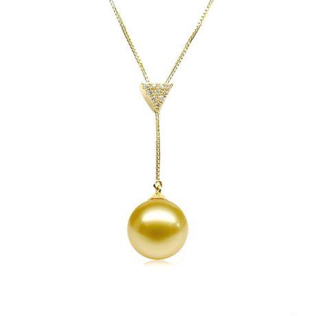 Ciondolo pendente in oro giallo e diamanti - Perla dorata australiana