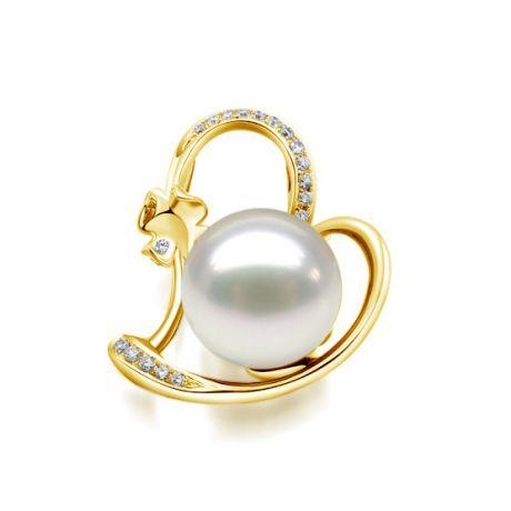 Ciondolo Cuore di Quadrifoglio. Oro Giallo, Perla d'Australia e Diamanti