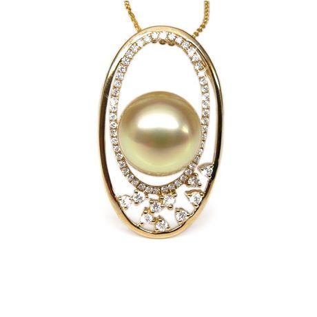 Ciondolo ovale oro giallo - Perla d'Australia dorata, champagne - 12/13mm
