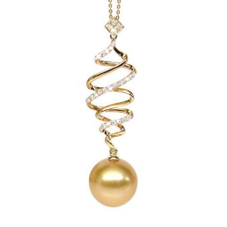 Ciondolo vortice oro giallo - Perla d'Australia dorata - 12/13mm