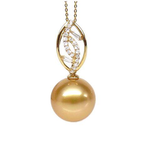 Ciondolo foglie oro giallo, diamanti - Perla d'Australia dorata - 12/13mm