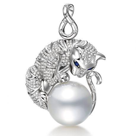 Ciondolo gatto oro bianco, diamanti - Perla d'Australia bianca - 16/17mm